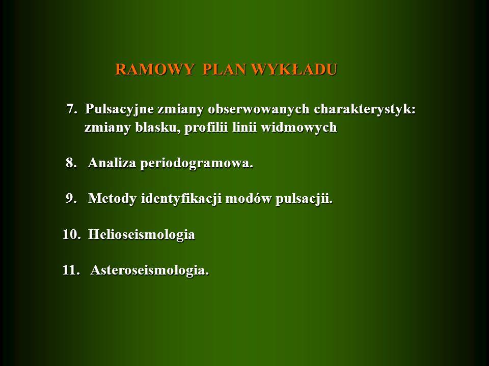 RAMOWY PLAN WYKŁADU RAMOWY PLAN WYKŁADU 7.Pulsacyjne zmiany obserwowanych charakterystyk: 7.