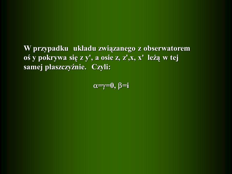 W przypadku układu związanego z obserwatorem oś y pokrywa się z y , a osie z, z ,x, x leżą w tej samej płaszczyźnie.