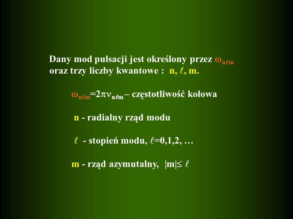 =0 – oscylacje radialne (szczególny przypadek oscylacji nieradialnych) =1 – dipol =2 – kwadrupol n>0 – mody akustyczne (ciśnieniowe) (p) n=0 – mody podstawowe (f) n<0 – mody grawitacyjne (g) n=0 - mod fundamentalny dla >1 n=1 - pierwszy overton n=2 - drugi overton itd.