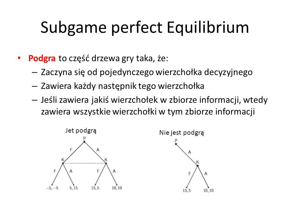 Subgame perfect Equilibrium Podgra to część drzewa gry taka, że: – Zaczyna się od pojedynczego wierzchołka decyzyjnego – Zawiera każdy następnik tego
