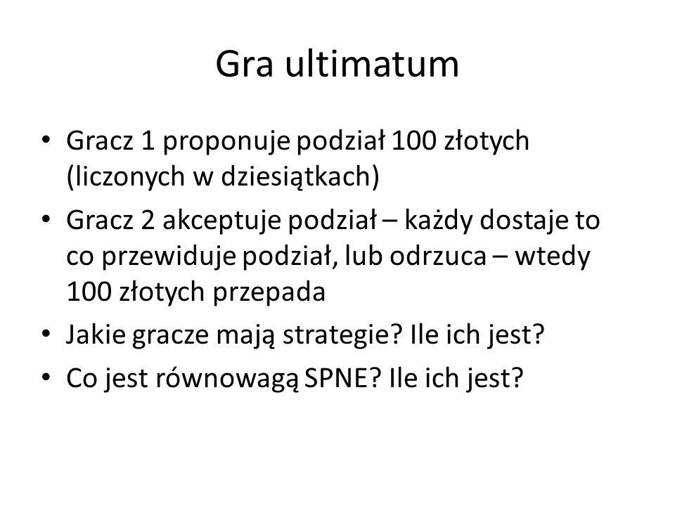 Gra ultimatum Gracz 1 proponuje podział 100 złotych (liczonych w dziesiątkach) Gracz 2 akceptuje podział – każdy dostaje to co przewiduje podział, lub