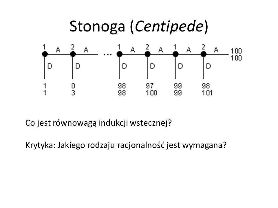 Stonoga (Centipede) Co jest równowagą indukcji wstecznej? Krytyka: Jakiego rodzaju racjonalność jest wymagana?