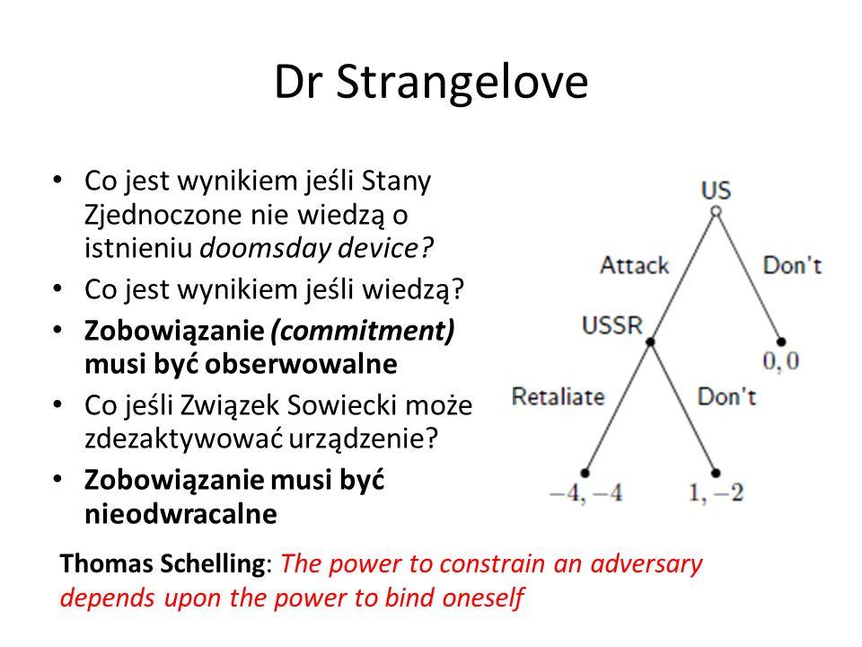 Dr Strangelove Co jest wynikiem jeśli Stany Zjednoczone nie wiedzą o istnieniu doomsday device? Co jest wynikiem jeśli wiedzą? Zobowiązanie (commitmen