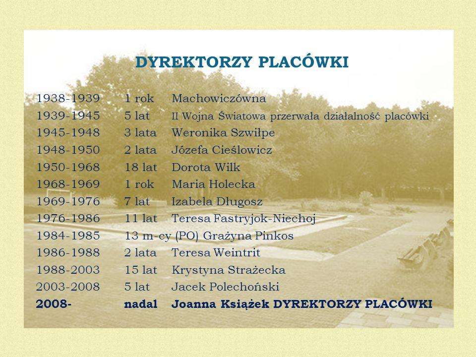 DYREKTORZY PLACÓWKI 1938-1939 1 rok Machowiczówna 1939-1945 5 lat II Wojna Światowa przerwała działalność placówki 1945-1948 3 lata Weronika Szwiłpe 1
