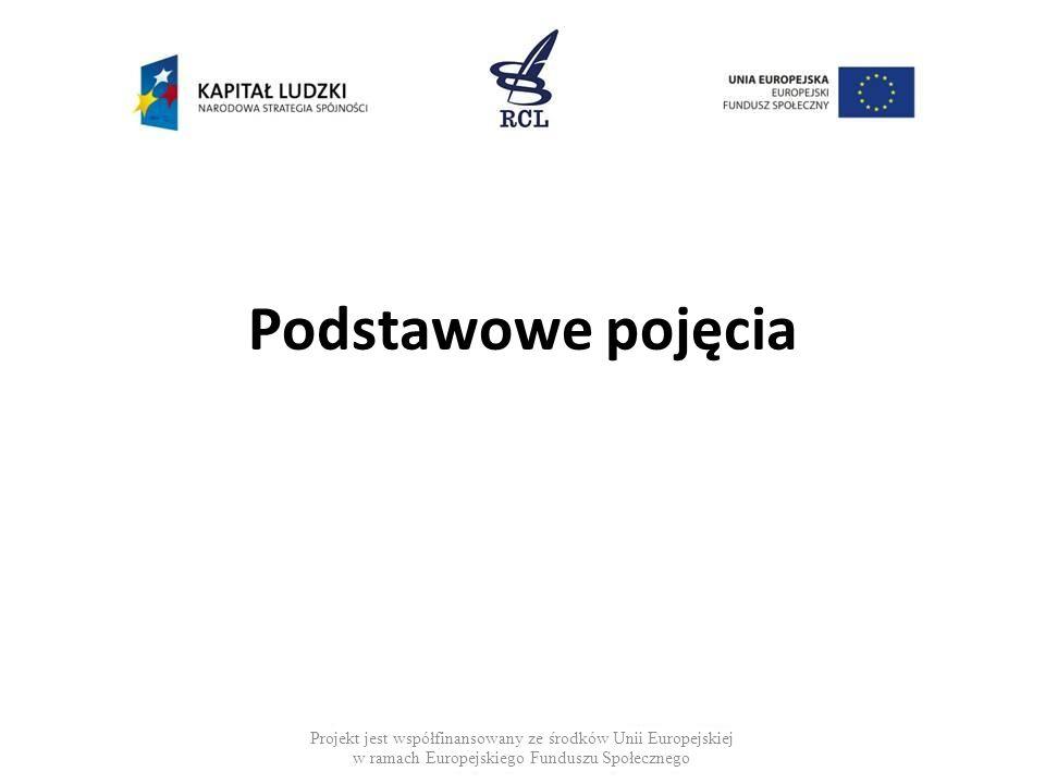 Podstawowe pojęcia Projekt jest współfinansowany ze środków Unii Europejskiej w ramach Europejskiego Funduszu Społecznego