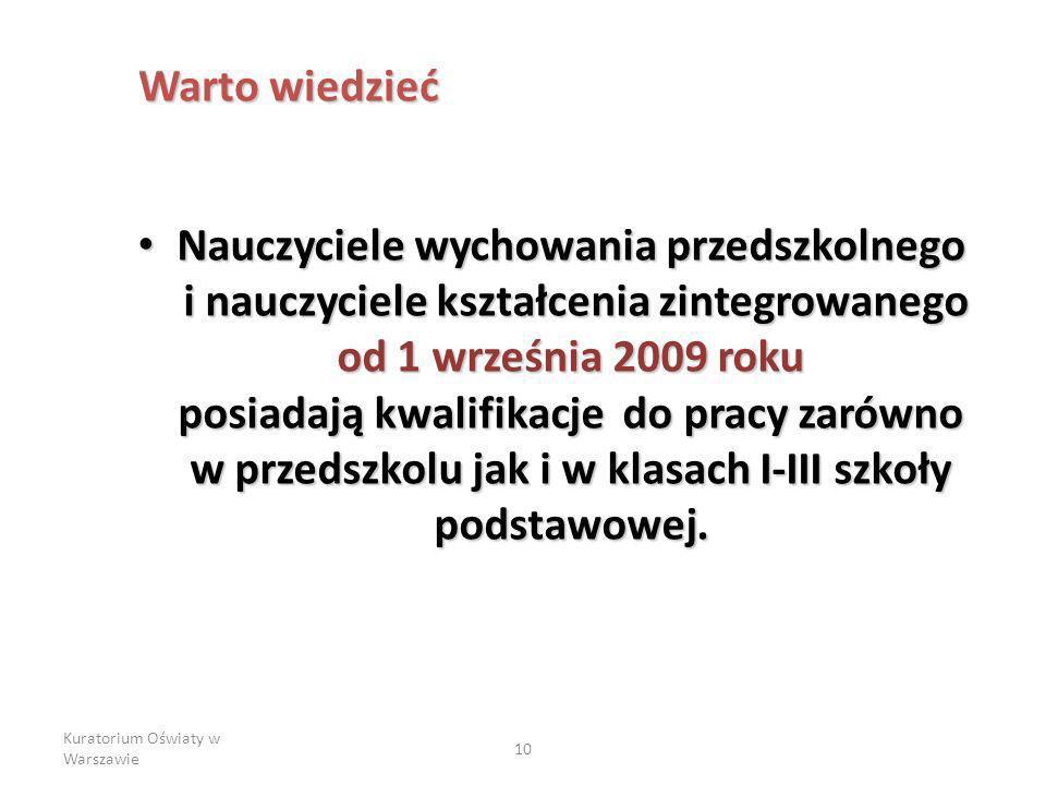 Kuratorium Oświaty w Warszawie 10 Nauczyciele wychowania przedszkolnego i nauczyciele kształcenia zintegrowanego od 1 września 2009 roku posiadają kwalifikacje do pracy zarówno w przedszkolu jak i w klasach I-III szkoły podstawowej.