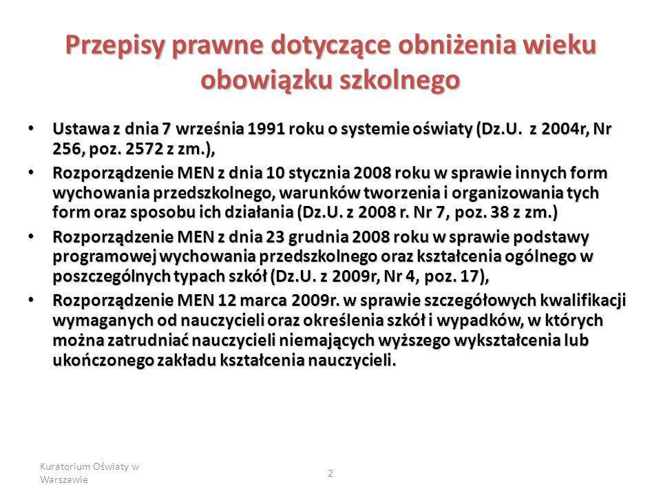 Kuratorium Oświaty w Warszawie 2 Przepisy prawne dotyczące obniżenia wieku obowiązku szkolnego Ustawa z dnia 7 września 1991 roku o systemie oświaty (