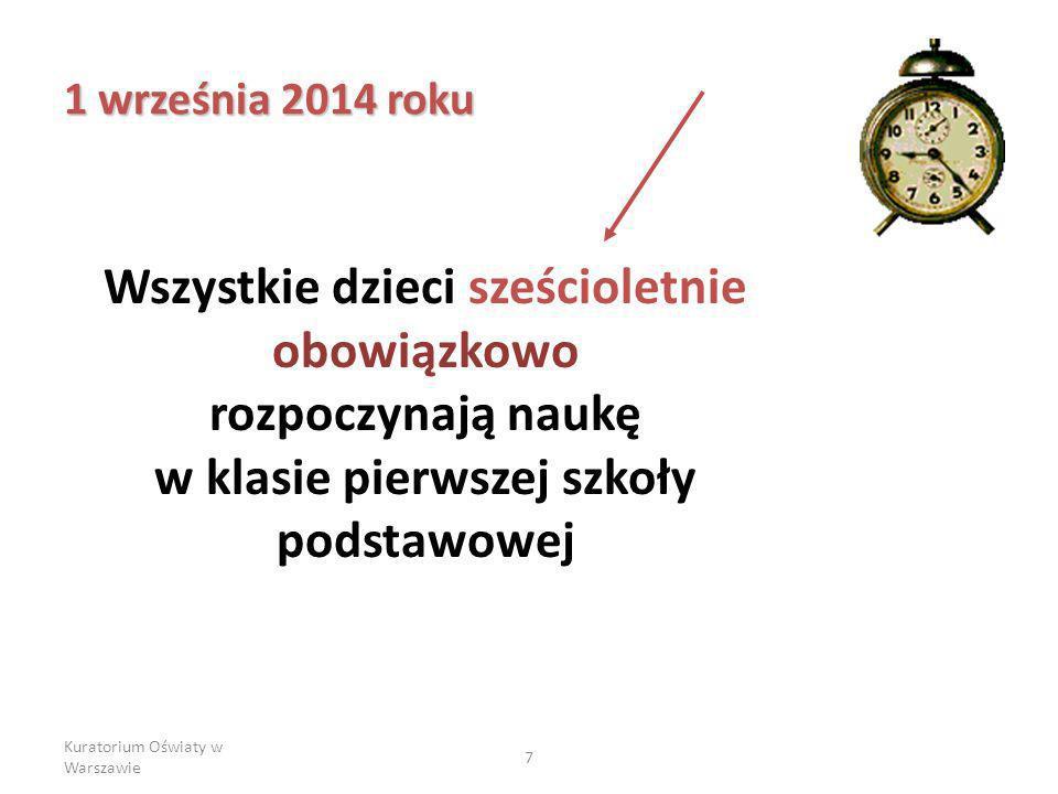 Kuratorium Oświaty w Warszawie 7 1 września 2014 roku Wszystkie dzieci sześcioletnie obowiązkowo rozpoczynają naukę w klasie pierwszej szkoły podstawowej