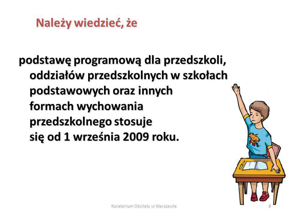 Kuratorium Oświaty w Warszawie8 podstawę programową dla przedszkoli, oddziałów przedszkolnych w szkołach podstawowych oraz innych formach wychowania p