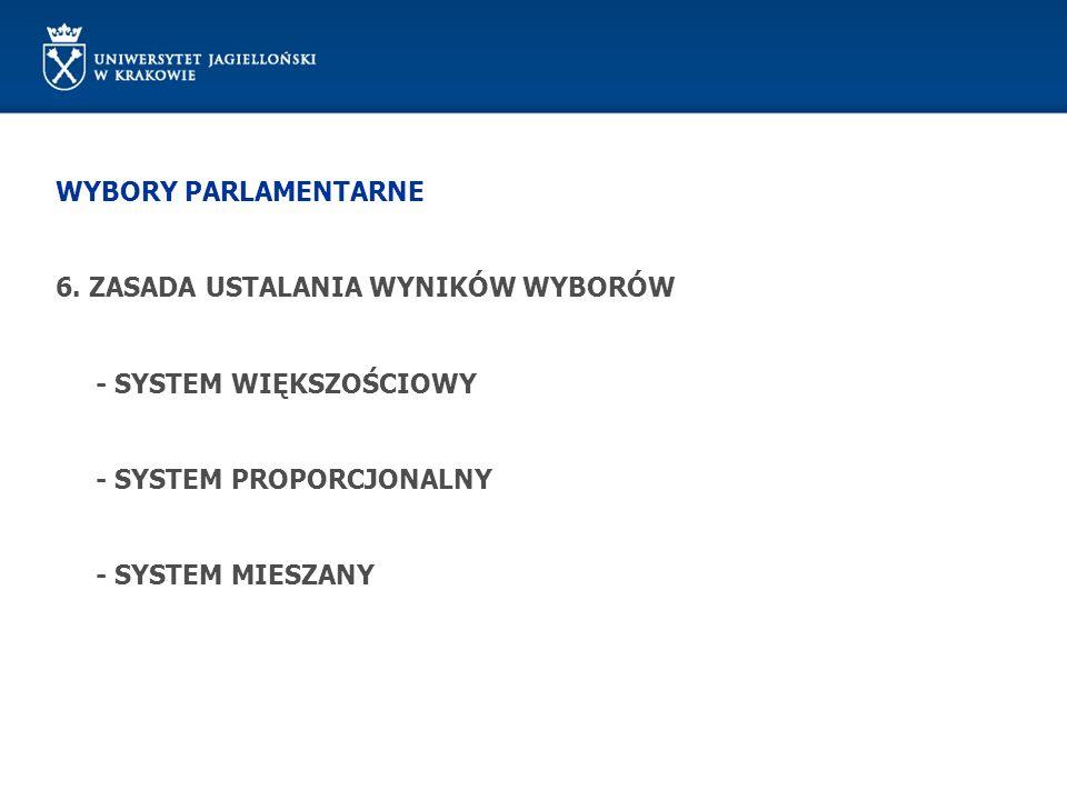WYBORY PARLAMENTARNE 6. ZASADA USTALANIA WYNIKÓW WYBORÓW - SYSTEM WIĘKSZOŚCIOWY - SYSTEM PROPORCJONALNY - SYSTEM MIESZANY