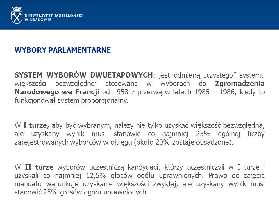 WYBORY PARLAMENTARNE SYSTEM WYBORÓW DWUETAPOWYCH: jest odmianą czystego systemu większości bezwzględnej stosowaną w wyborach do Zgromadzenia Narodoweg
