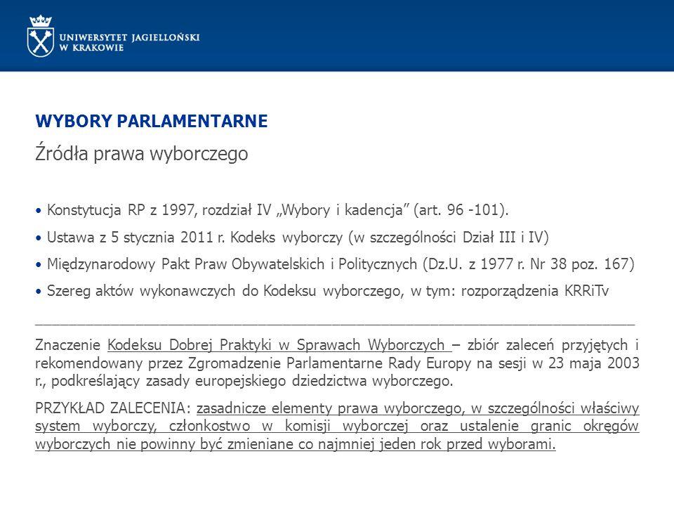 WYBORY PARLAMENTARNE Źródła prawa wyborczego Konstytucja RP z 1997, rozdział IV Wybory i kadencja (art. 96 -101). Ustawa z 5 stycznia 2011 r. Kodeks w