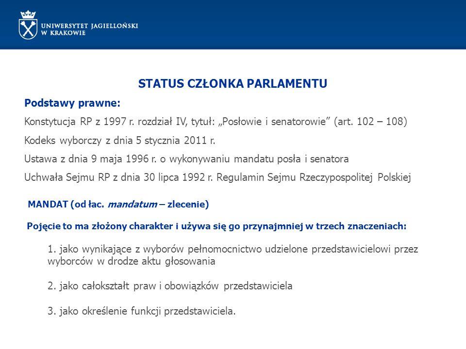 STATUS CZŁONKA PARLAMENTU Podstawy prawne: Konstytucja RP z 1997 r. rozdział IV, tytuł: Posłowie i senatorowie (art. 102 – 108) Kodeks wyborczy z dnia