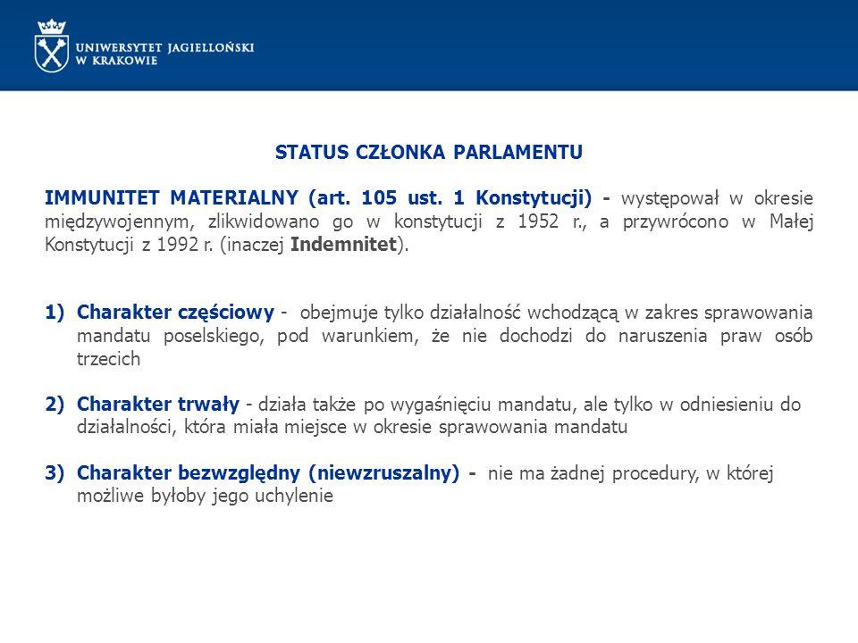 STATUS CZŁONKA PARLAMENTU IMMUNITET MATERIALNY (art. 105 ust. 1 Konstytucji) - występował w okresie międzywojennym, zlikwidowano go w konstytucji z 19