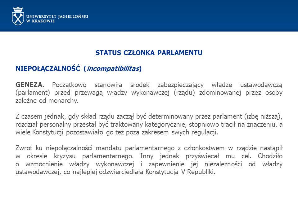STATUS CZŁONKA PARLAMENTU NIEPOŁĄCZALNOŚĆ (incompatibilitas) GENEZA. Początkowo stanowiła środek zabezpieczający władzę ustawodawczą (parlament) przed