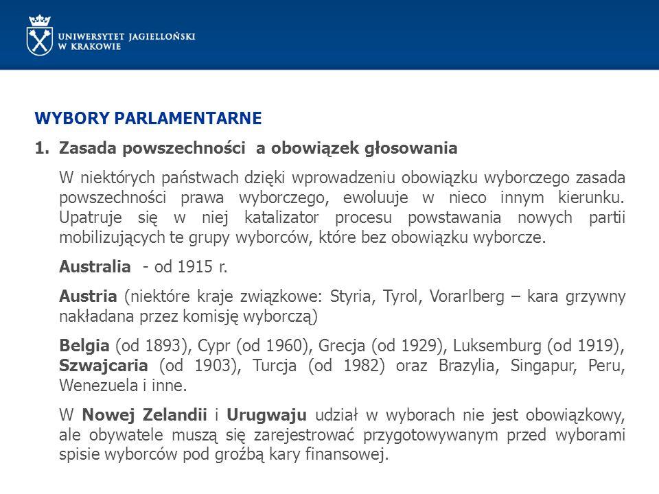 WYBORY PARLAMENTARNE 1.Zasada powszechności a cenzusy Powszechność w konstytucjach XIX w.