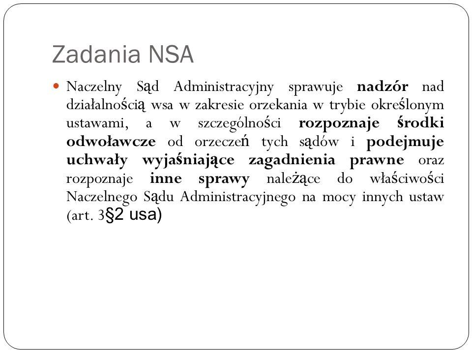 Zadania NSA Naczelny S ą d Administracyjny sprawuje nadzór nad działalno ś ci ą wsa w zakresie orzekania w trybie okre ś lonym ustawami, a w szczególn