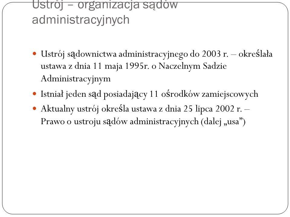 Ustrój – organizacja sądów administracyjnych Ustrój s ą downictwa administracyjnego do 2003 r. – okre ś lała ustawa z dnia 11 maja 1995r. o Naczelnym