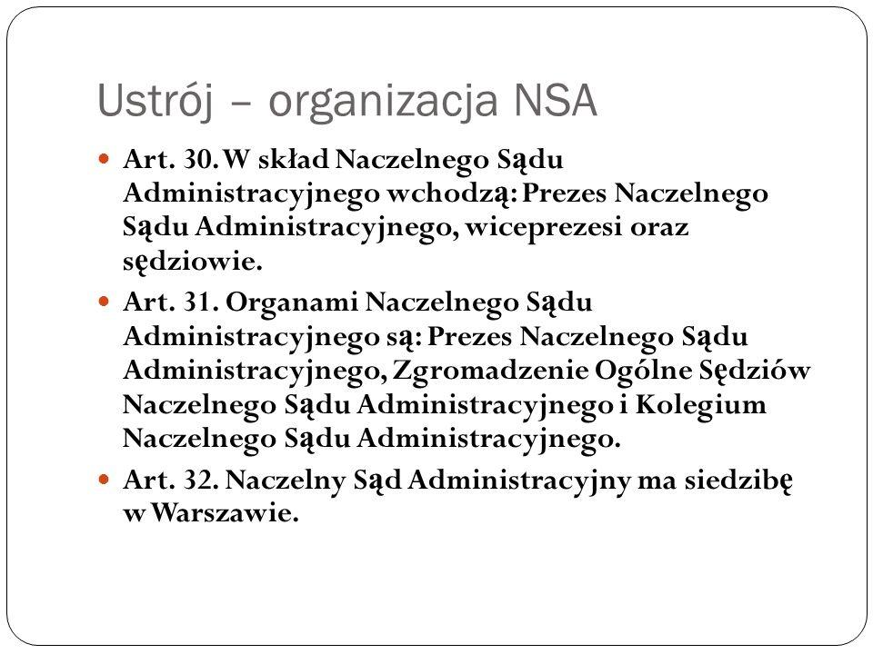 Ustrój – organizacja NSA Art. 30. W skład Naczelnego S ą du Administracyjnego wchodz ą : Prezes Naczelnego S ą du Administracyjnego, wiceprezesi oraz