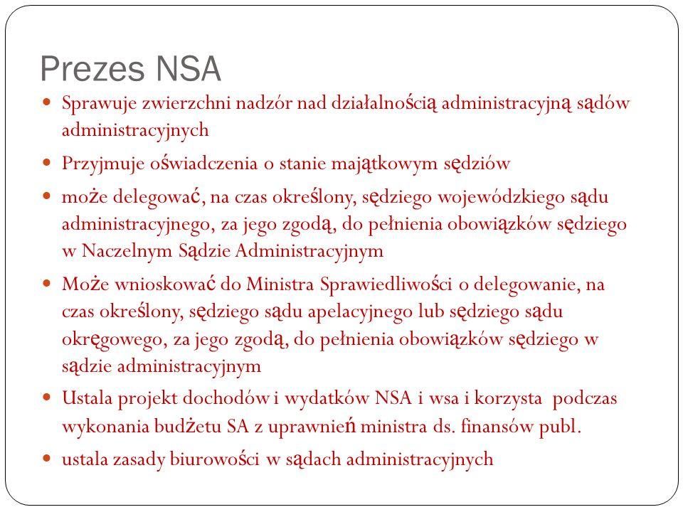 Prezes NSA Sprawuje zwierzchni nadzór nad działalno ś ci ą administracyjn ą s ą dów administracyjnych Przyjmuje o ś wiadczenia o stanie maj ą tkowym s