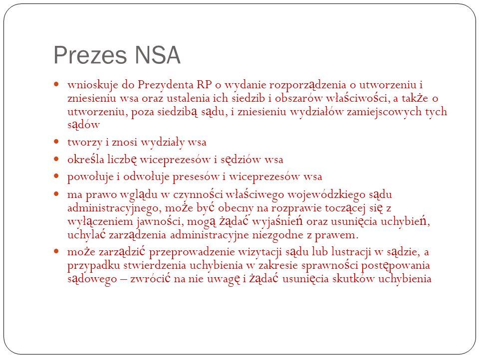 Prezes NSA wnioskuje do Prezydenta RP o wydanie rozporz ą dzenia o utworzeniu i zniesieniu wsa oraz ustalenia ich siedzib i obszarów wła ś ciwo ś ci,