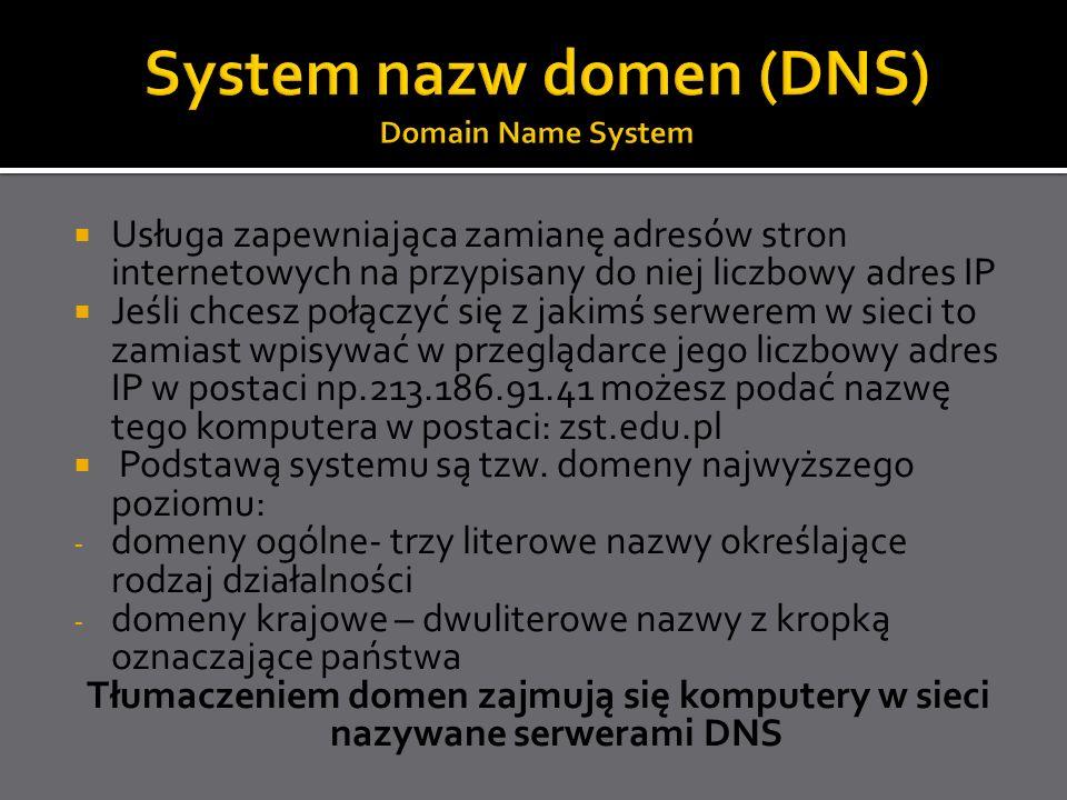 Usługa zapewniająca zamianę adresów stron internetowych na przypisany do niej liczbowy adres IP Jeśli chcesz połączyć się z jakimś serwerem w sieci to