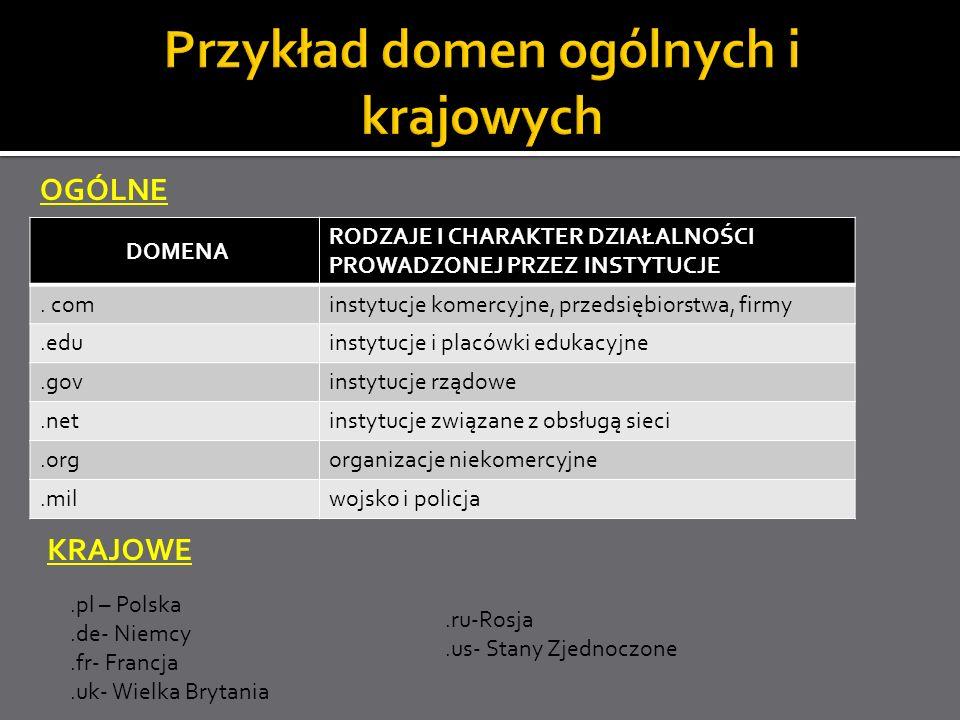 DOMENA RODZAJE I CHARAKTER DZIAŁALNOŚCI PROWADZONEJ PRZEZ INSTYTUCJE. cominstytucje komercyjne, przedsiębiorstwa, firmy.eduinstytucje i placówki eduka
