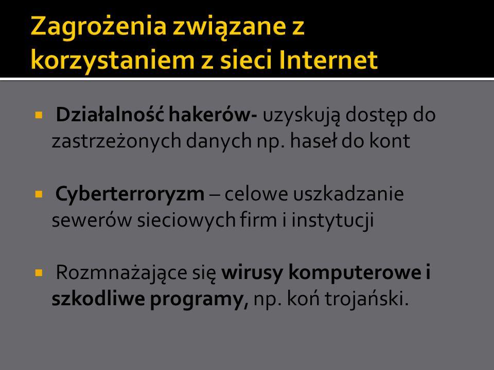 Działalność hakerów- uzyskują dostęp do zastrzeżonych danych np. haseł do kont Cyberterroryzm – celowe uszkadzanie sewerów sieciowych firm i instytucj
