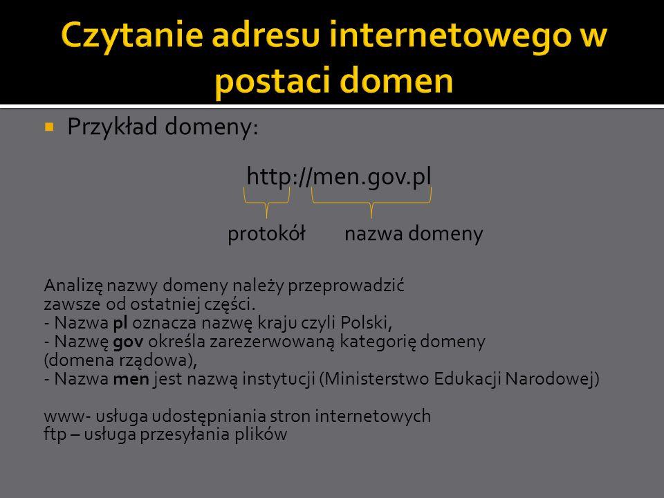 Przykład domeny: http://men.gov.pl protokół nazwa domeny Analizę nazwy domeny należy przeprowadzić zawsze od ostatniej części. - Nazwa pl oznacza nazw