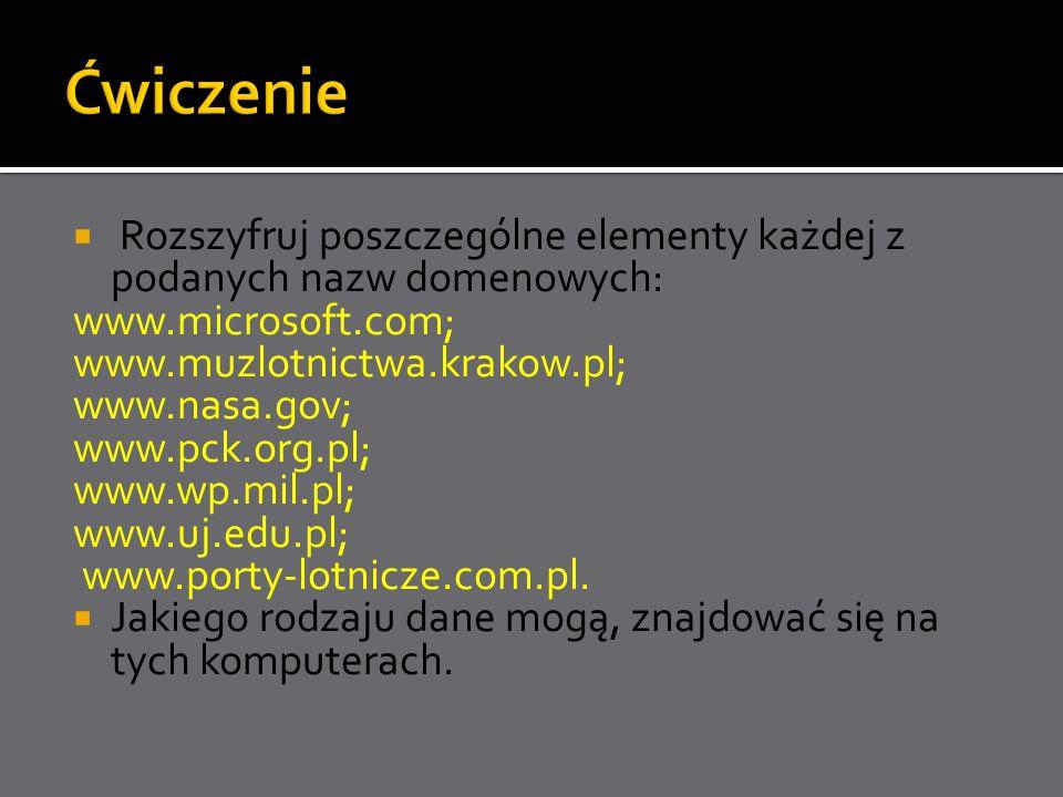 Rozszyfruj poszczególne elementy każdej z podanych nazw domenowych: www.microsoft.com; www.muzlotnictwa.krakow.pl; www.nasa.gov; www.pck.org.pl; www.w