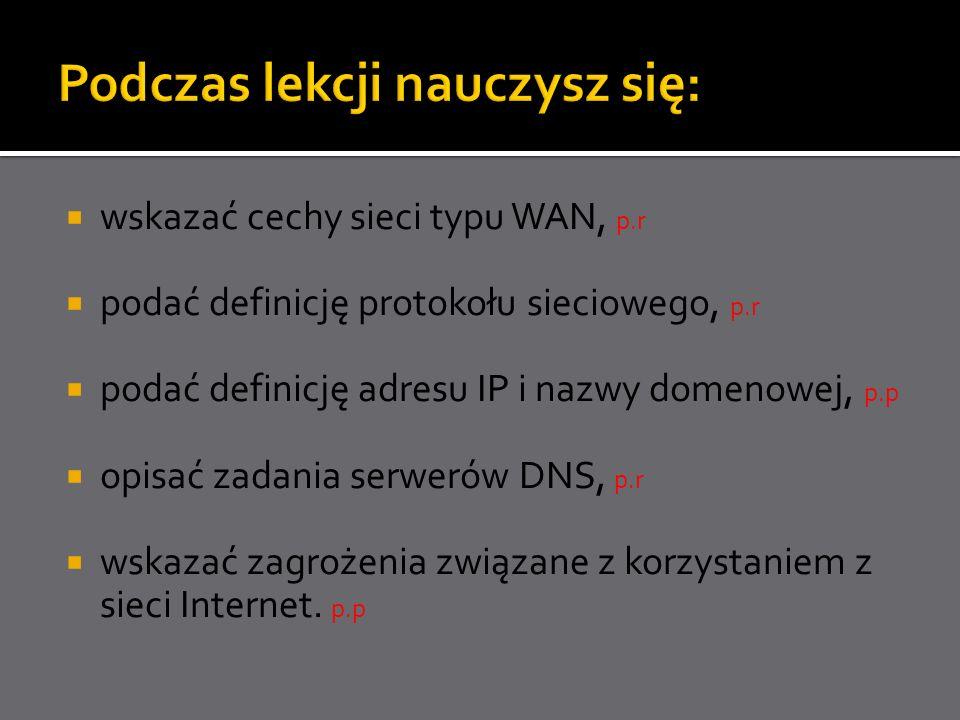 wskazać cechy sieci typu WAN, p.r podać definicję protokołu sieciowego, p.r podać definicję adresu IP i nazwy domenowej, p.p opisać zadania serwerów D
