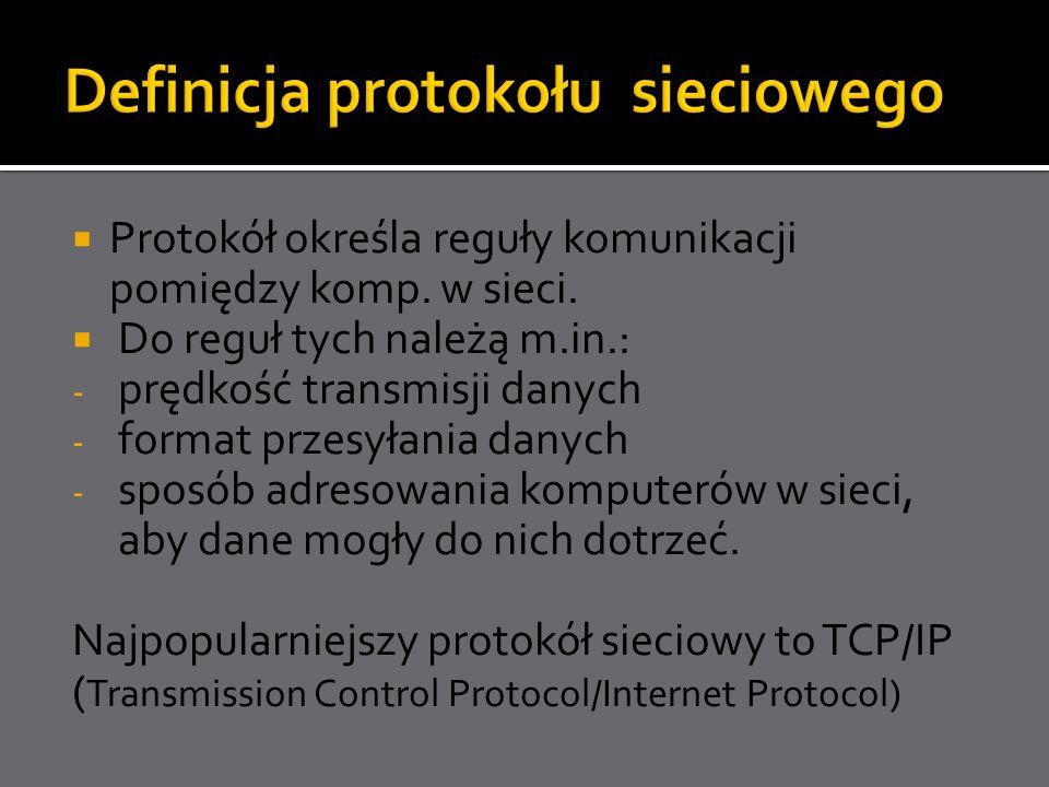 Protokół określa reguły komunikacji pomiędzy komp. w sieci. Do reguł tych należą m.in.: - prędkość transmisji danych - format przesyłania danych - spo