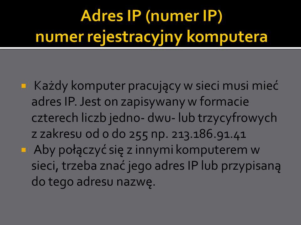 Każdy komputer pracujący w sieci musi mieć adres IP. Jest on zapisywany w formacie czterech liczb jedno- dwu- lub trzycyfrowych z zakresu od 0 do 255