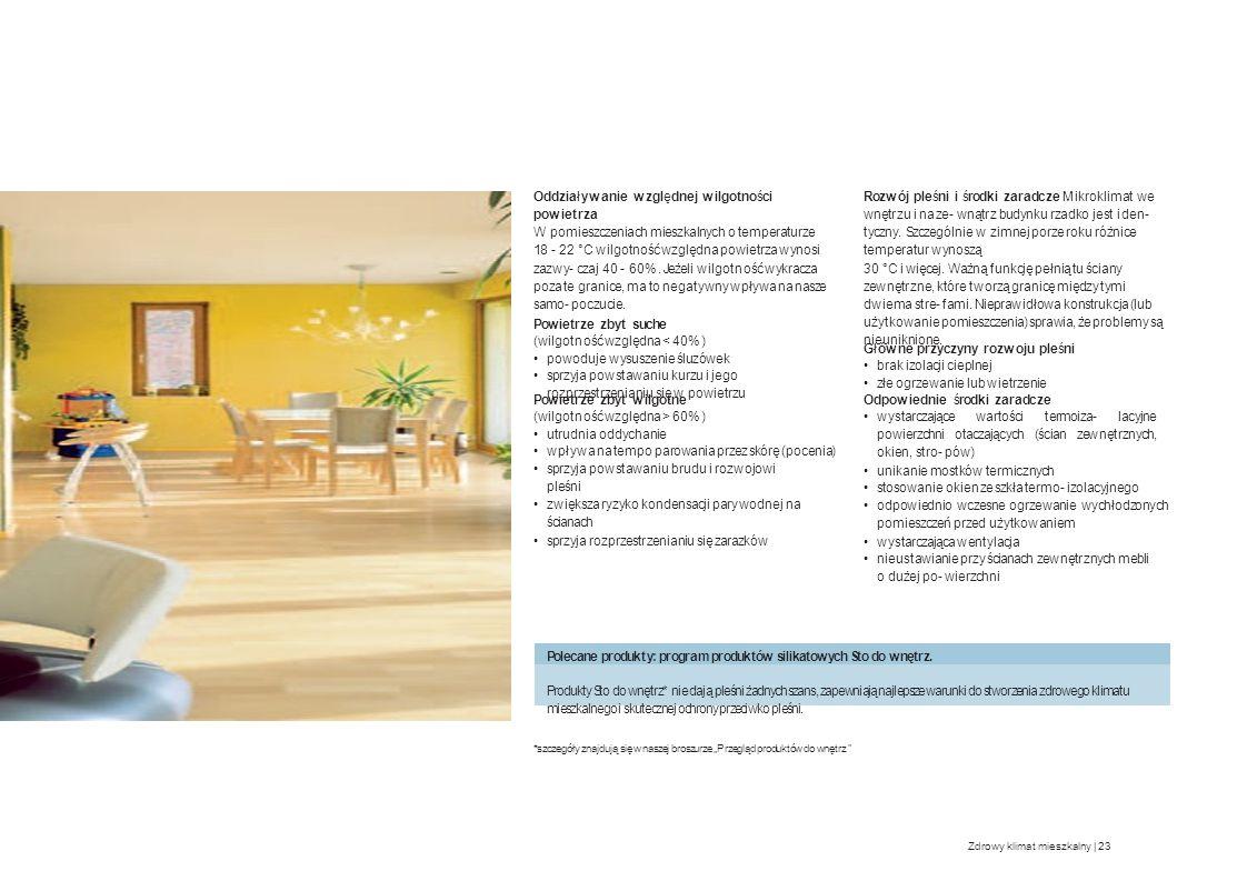 Oddziaływanie względnej wilgotności powietrza W pomieszczeniach mieszkalnych o temperaturze 18 - 22 °C wilgotność względna powietrza wynosi zazwy- cza
