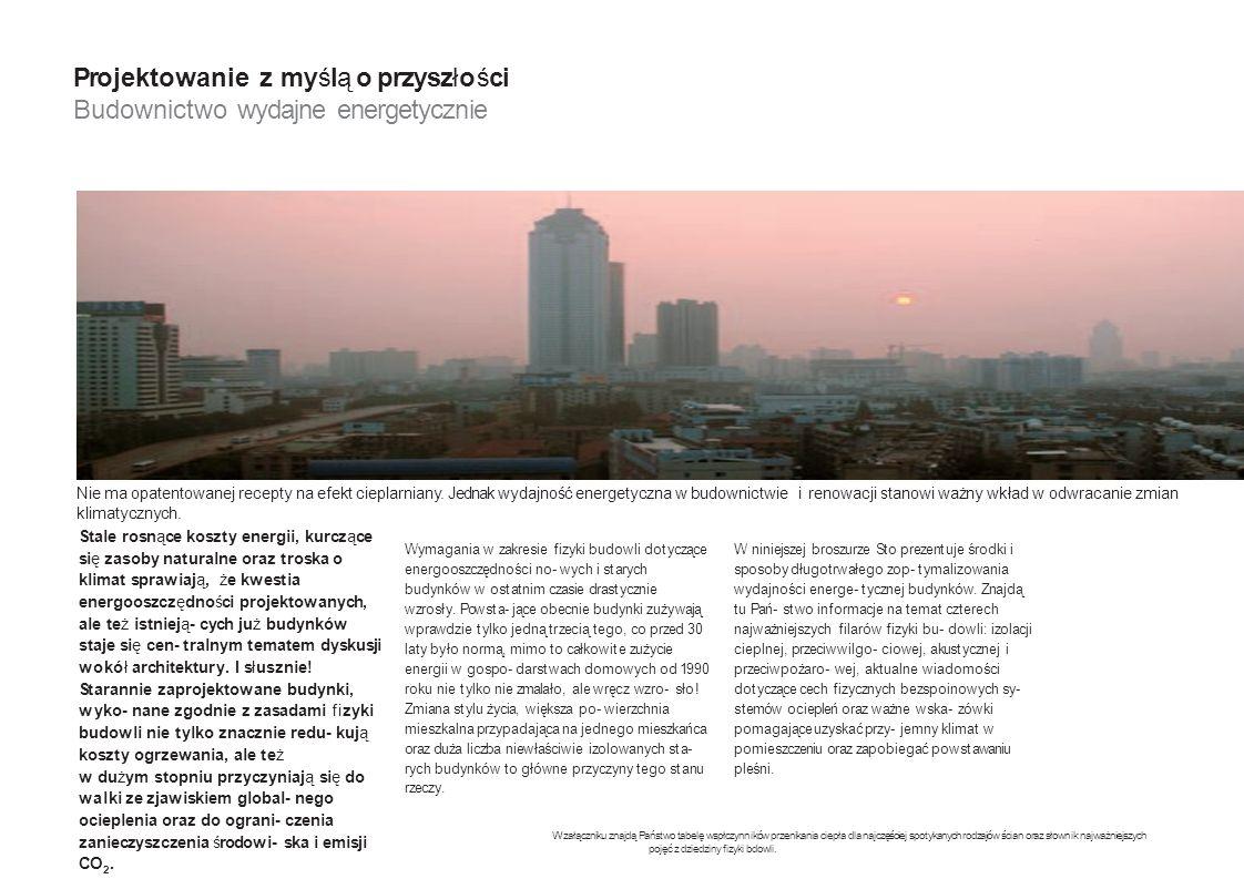 Projektowanie z myślą o przyszłości Budownictwo wydajne energetycznie W załączniku znajdą Państwo tabelę wspłczynników przenikania ciepła dla najczęśc