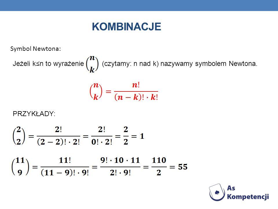 KOMBINACJE Symbol Newtona: Jeżeli kn to wyrażenie (czytamy: n nad k) nazywamy symbolem Newtona. PRZYKŁADY: