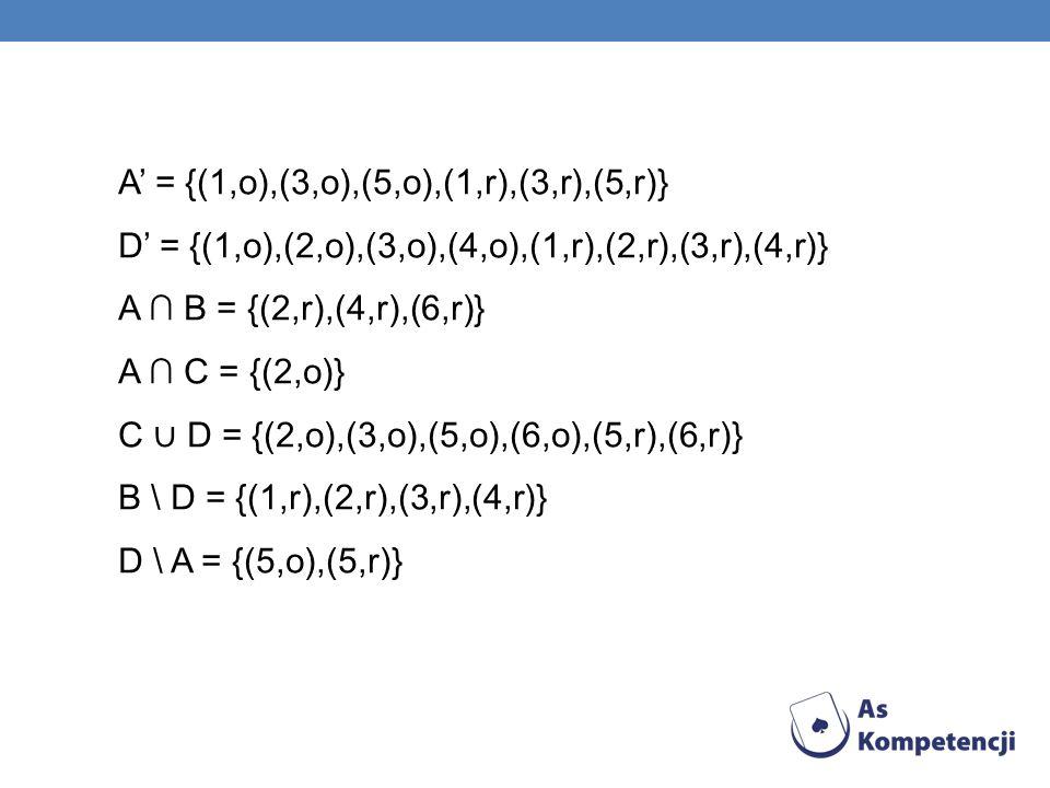 A = {(1,o),(3,o),(5,o),(1,r),(3,r),(5,r)} D = {(1,o),(2,o),(3,o),(4,o),(1,r),(2,r),(3,r),(4,r)} A B = {(2,r),(4,r),(6,r)} A C = {(2,o)} C D = {(2,o),(