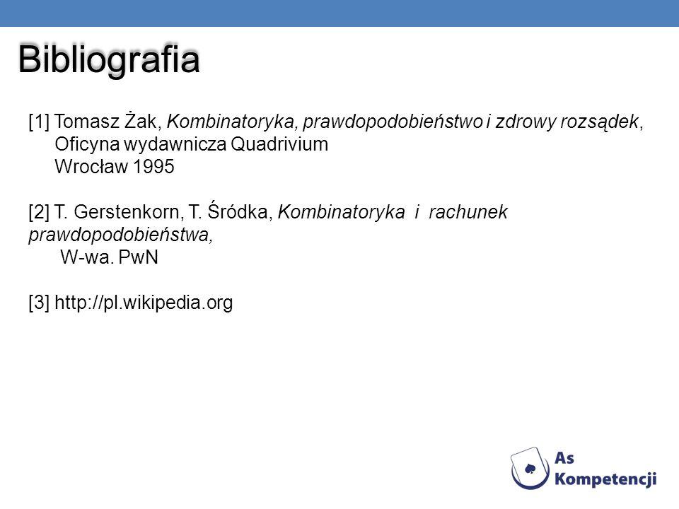 Bibliografia [1] Tomasz Żak, Kombinatoryka, prawdopodobieństwo i zdrowy rozsądek, Oficyna wydawnicza Quadrivium Wrocław 1995 [2] T. Gerstenkorn, T. Śr