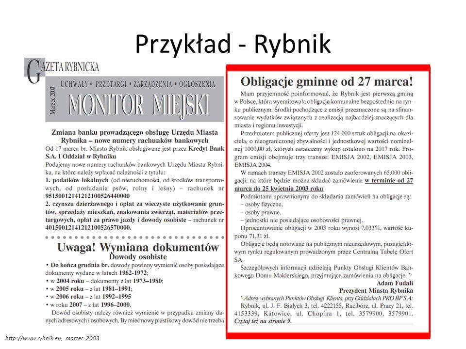 Przykłady obligacji - Łódź 18 grudnia 2006 roku MPK-Łódź Spółka z o.o podpisała umowę o emisji obligacji przychodowych na budowę ŁTR z Bankiem BPH S.A, (inna inf.