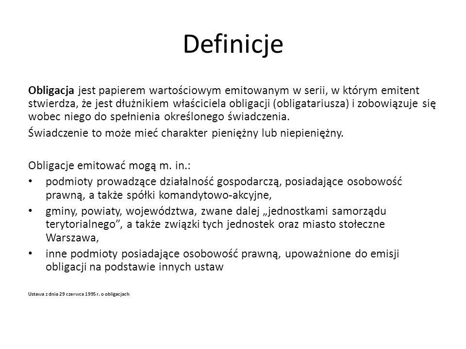 Definicje Obligacje emitowane przez władze lokalne, komunalne (np.