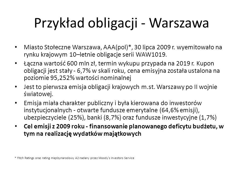 Przykład obligacji - Warszawa Miasto Stołeczne Warszawa, AAA(pol)*, 30 lipca 2009 r. wyemitowało na rynku krajowym 10–letnie obligacje serii WAW1019.