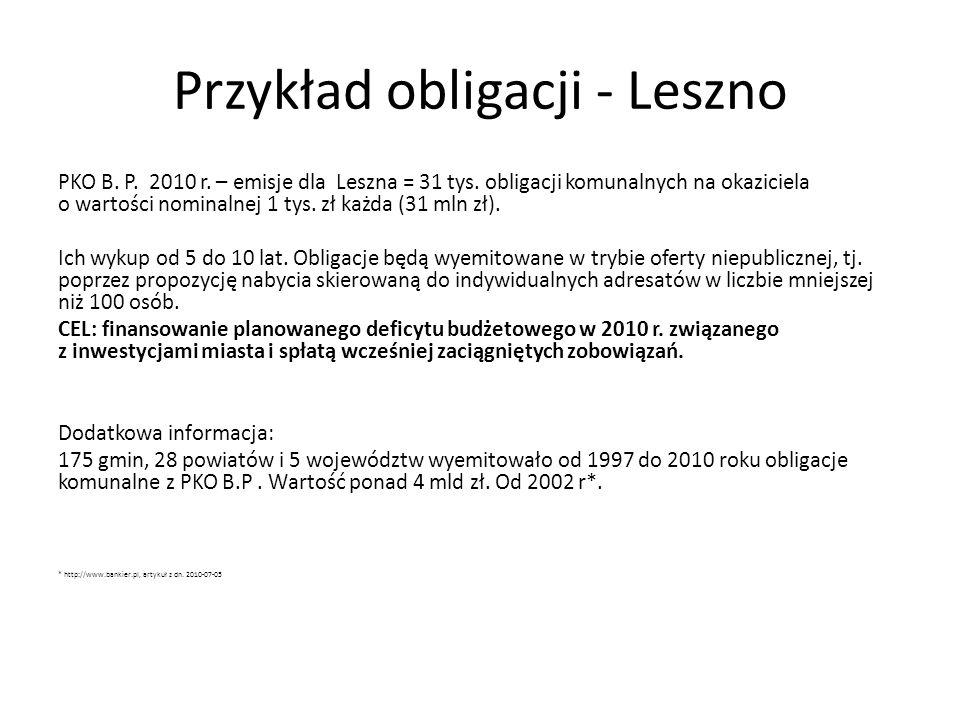Przykład obligacji - Leszno PKO B. P. 2010 r. – emisje dla Leszna = 31 tys. obligacji komunalnych na okaziciela o wartości nominalnej 1 tys. zł każda