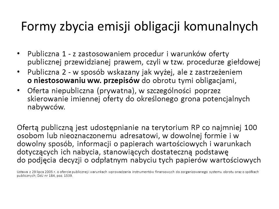 Procedura publicznego zbywania obligacji komunalnych Warunki publicznego zbywania obligacji komunalnych: Są dopuszczone do obrotu na rynku regulowanym, nie mają ograniczonej zbywalności, wnioskiem objęto wszystkie papiery w.
