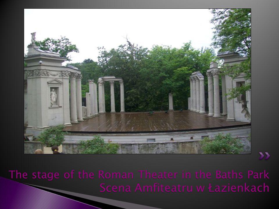 The stage of the Roman Theater in the Baths Park Scena Amfiteatru w Łazienkach