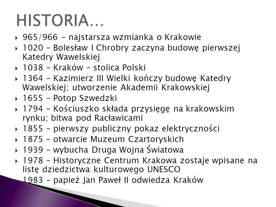965/966 – najstarsza wzmianka o Krakowie 1020 – Bolesław I Chrobry zaczyna budowę pierwszej Katedry Wawelskiej 1038 – Kraków – stolica Polski 1364 – K