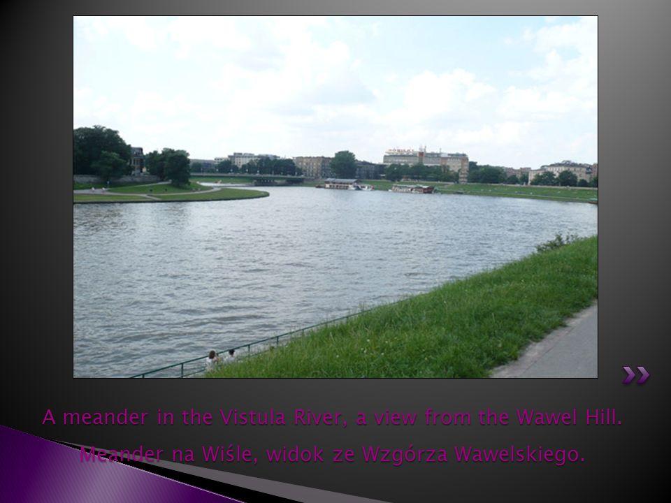 A meander in the Vistula River, a view from the Wawel Hill. Meander na Wiśle, widok ze Wzgórza Wawelskiego.