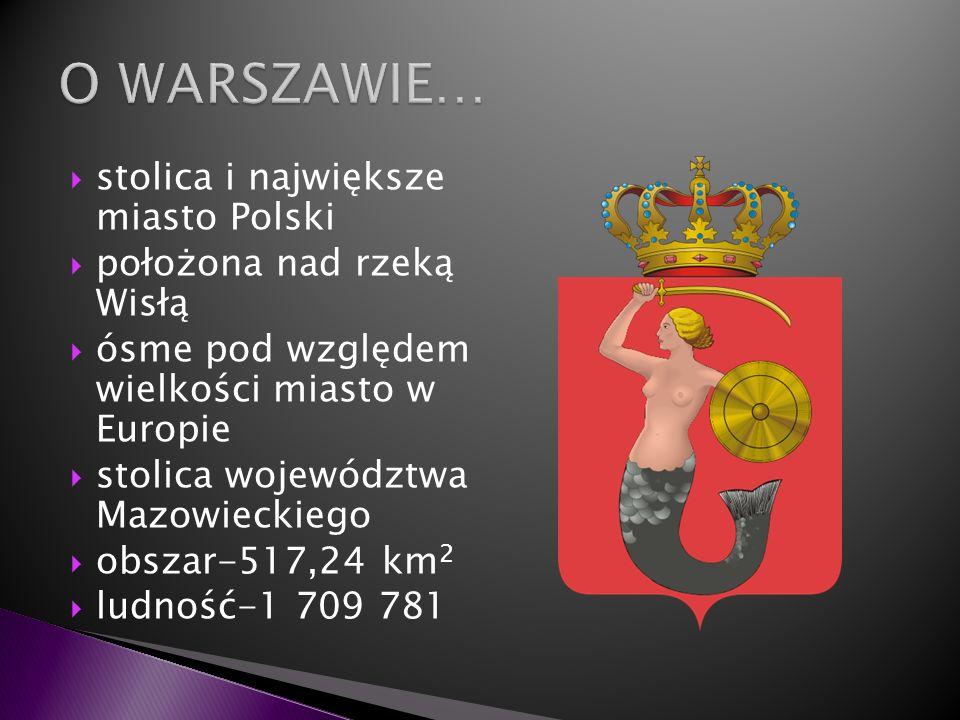 stolica i największe miasto Polski położona nad rzeką Wisłą ósme pod względem wielkości miasto w Europie stolica województwa Mazowieckiego obszar-517,