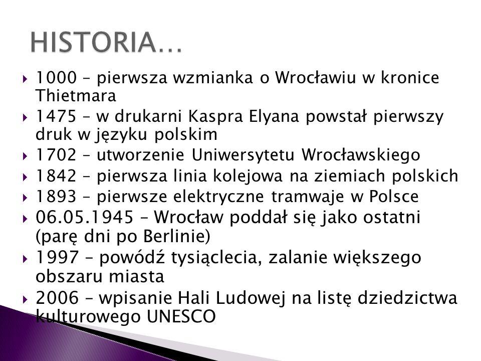1000 – pierwsza wzmianka o Wrocławiu w kronice Thietmara 1475 – w drukarni Kaspra Elyana powstał pierwszy druk w języku polskim 1702 – utworzenie Uniw