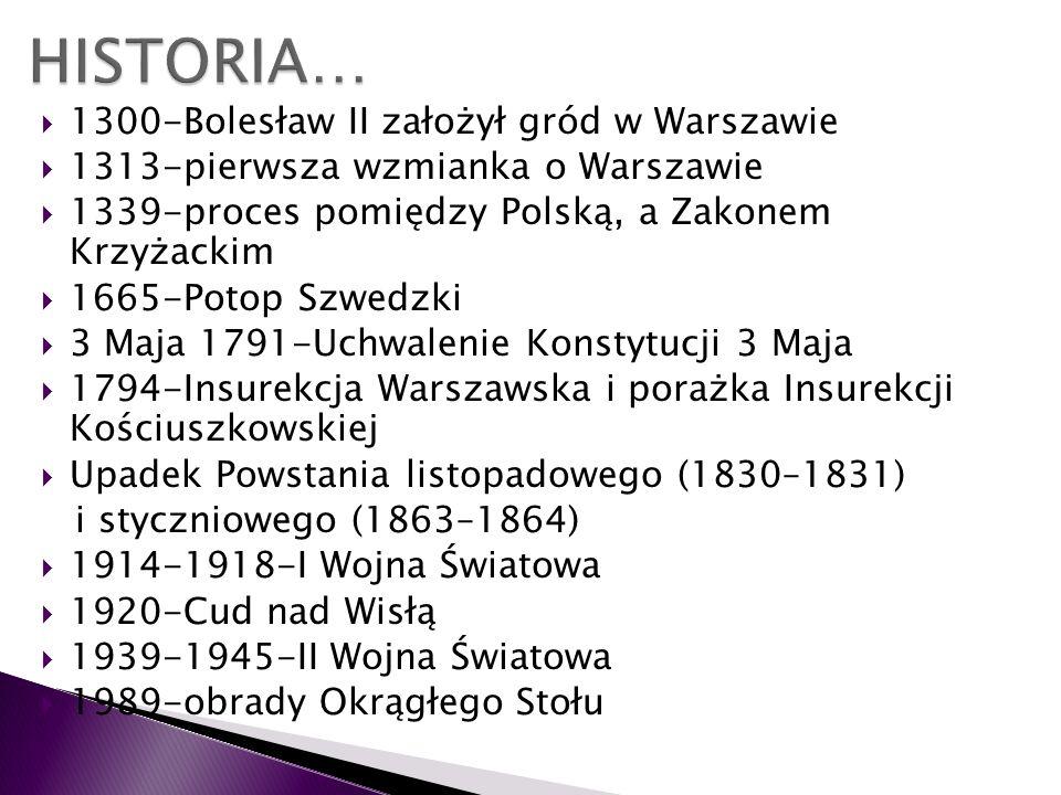 1300-Bolesław II założył gród w Warszawie 1313-pierwsza wzmianka o Warszawie 1339-proces pomiędzy Polską, a Zakonem Krzyżackim 1665-Potop Szwedzki 3 M