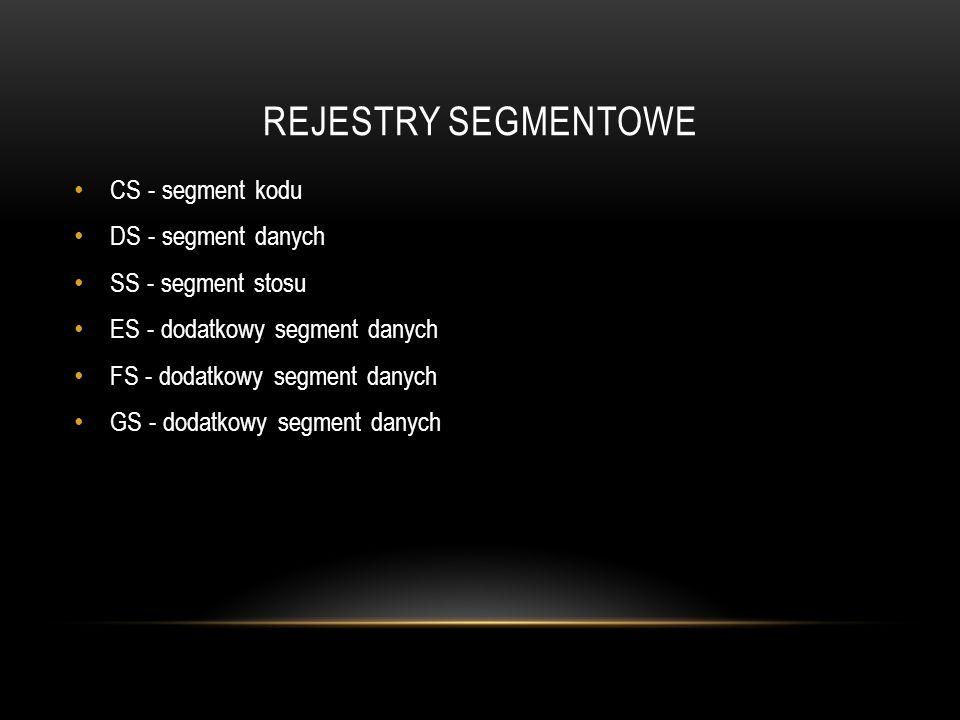 REJESTRY SEGMENTOWE CS - segment kodu DS - segment danych SS - segment stosu ES - dodatkowy segment danych FS - dodatkowy segment danych GS - dodatkow